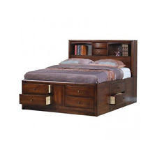 King Size Platform Bed With Headboard by Bookcase Storage Bed Ebay