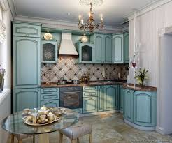 A Concept Render For Small Kitchen With Traditional Blue Cabinets