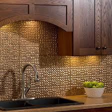 Copper Tiles For Backsplash by Classic Kitchen Ideas With Fasade Cracked Copper Tile Backsplash