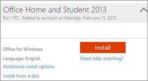 Download and install or reinstall fice 2013 on a PC Microsoft