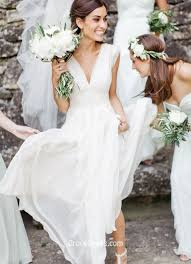 V Neck White Cap Sleeve Chiffon A Line Long Beach Summer Wedding Dress