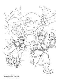 Anna And Kristoff Running Away From Marshmallow Coloring Page