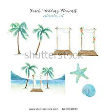 Beach Wedding Elements Watercolor Set With Palm Trees Sea Landscape Shells And
