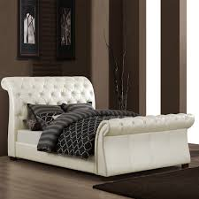 Awesome Faux Leather Sleigh Bed With 4 Drawers