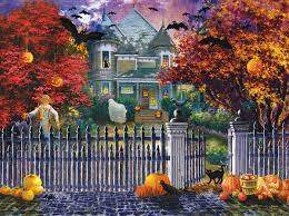 Hard Halloween Brain Teasers by Halloween House Scratch And Dent Jigsaw Puzzle Puzzlewarehouse Com