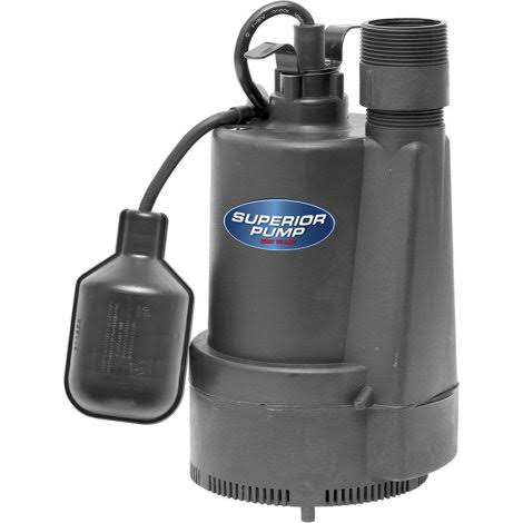 Superior Pump Thermoplastic Sump Pump with Tethered Float Switch - 1/3 HP