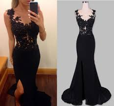 split side black prom dresses long black party dresses