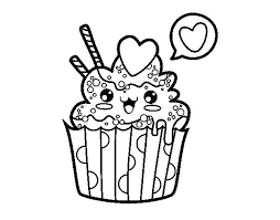 Kawaii Coloring Pages Packed With Cupcake Page Cat