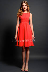 red bridesmaid dress with scoop knee length sleeveless leaf like