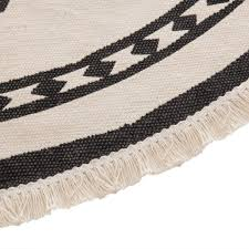 teppich nomadic mit fransen rund schwarz beige dm 90 cm ethno boho stil atmosphera