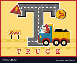 Truck Cartoon With Funny Driver Traffic Signs Vector Image