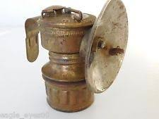Carbide Miners Lamp Fuel by Vintage Brass Justrite Carbide Miners Light Lamp Coal Mining Hat