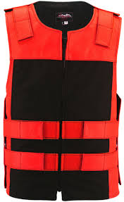 leather u0026 cordura combo zippered tactical vest red black