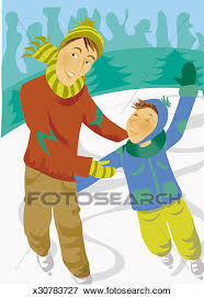 Stock Illustration Of Father And Son Ice Skating In Winter