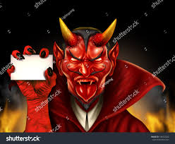 Is Halloween A Satanic Holiday by Devil Holding Blank Sign Red Demon Stock Illustration 148252202
