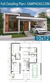 104 Contemporary House Design Plans 3 Bedrooms Home Plan 10x12m Samphoas Earch Modern Style Modern Bungalow Bungalow