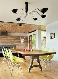 Dinning RoomsMinimalist Dining Room With Cool Live Edge Table And Yellow Chairs Under