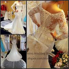 2016 modest long sleeve wedding gowns beaded lace mermaid bridal