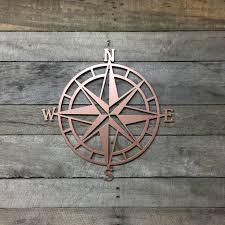 Rose Gold Metal Compass Nautical Wall Art Hanging