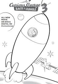 Curious George 3 Printable Activities Coloring Pages Rocketship Page