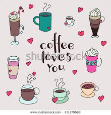 Coffee Cups Colorful Cute Vector Set Hand Drawn For Textile Or Wrapping