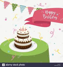 happy birthday grußkarte mit kuchen und kerzen vector