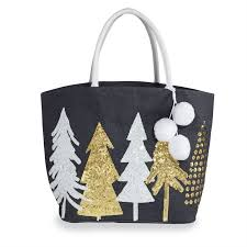 Christmas Tree Metallic Navy Dazzle Tote
