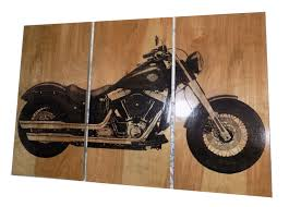 Harley Davidson Soft Tail Slim Motorcycle Bike Screen Print Wood Painting Wall Art On Stained Solid BIRCH 3 4 Inch Thick