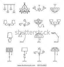 Outline Lamp Icon Set Thin Line Style Flat Design Vector Illustration