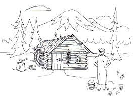 Cabin On A Lake Coloring Pages Panda Log