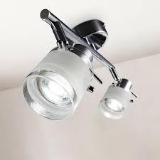 b k licht led deckenleuchte gu10 warmweiß led bad deckenle badezimmer metall glas schwenkbar ip44 inkl gu10 5w 400lm