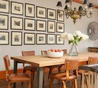 Modern Photo Frame Collage Dining Room Eclectic With Two Toned Wood Table Orange Molding Trim