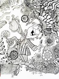 Mad Hatter Alice In Wonderland An Example Of How A Regular Coloring Book Printable Can Be Transformed With Zentangle