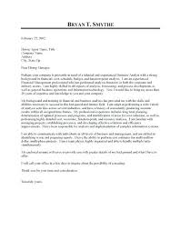 Business Analyst Cover Letter Financial Analyst Cover Letter Data