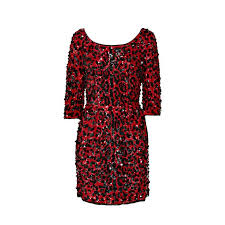 dolce and gabbana red sequined silk leopard print dress for sale
