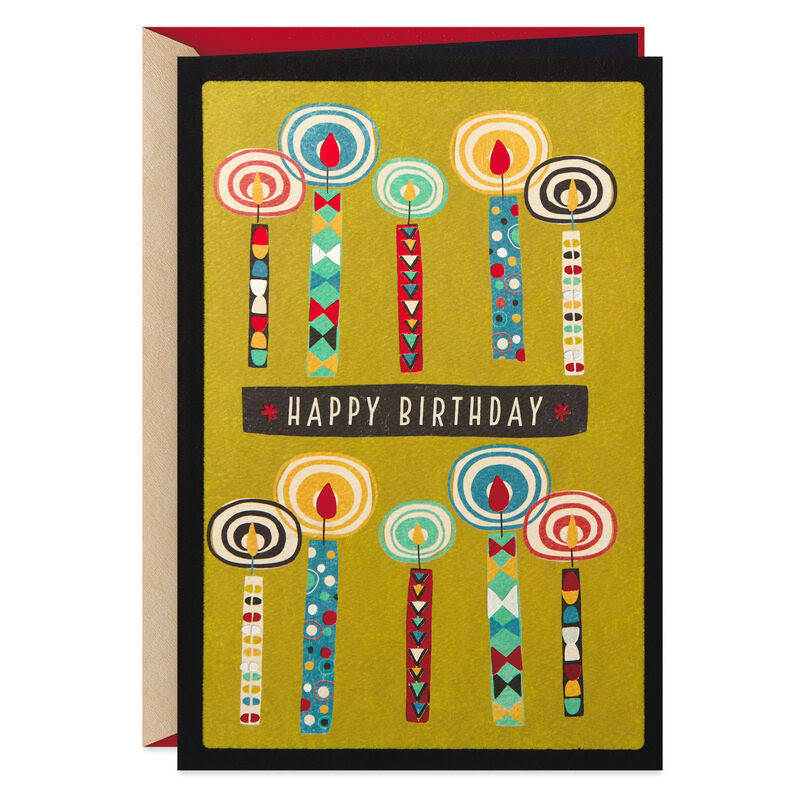 Double Your Wishes Colorful Candles Birthday Card