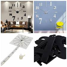 silber schwarz wand uhr wohnzimmer wanduhr spiegel wandtattoo deko 3d for café konferenzraum wish