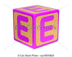 Letter e on childrens alphabet block Letter e on pink clip art