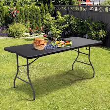 Giantex 6' Folding Table Portable Plastic Picnic Party Dining Camp Tables  Indoor Outdoor Modern Furniture OP2966BK