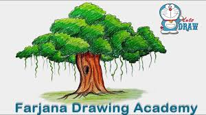 How to draw Banyan tree step by step very easy