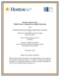 Hostos Community College Progress Report To Middle States 11 01 13