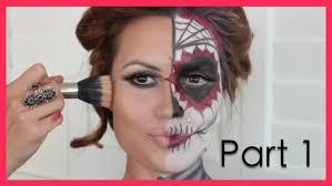 Halloween Half Mask Makeup by Dia De Los Muertos Halloween Make Up Tutorial Part1 Youtube