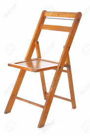 Retro Wooden Folding Chair, Isolated Against White Background.