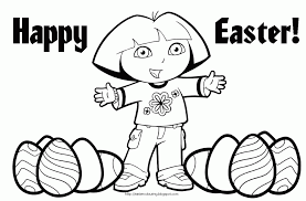 Easter Colouring Dora The Explorer Coloring Pages