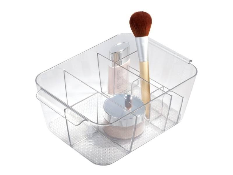 "Interdesign Clarity Divided Cosmetic Bin, 3.6"" x 10.4"" x 7"", Clear"