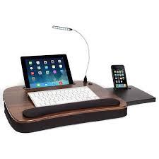 sofia sam multi tasking memory foam lap desk wood top with usb