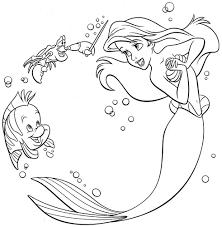Cartoon Printable Disney Princess Ariel Coloring Pages