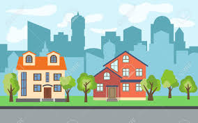 100 Three Story Houses Vector City With Twostory And Story Cartoon And
