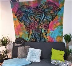 wandtuch elefant batik bunt