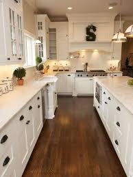White Kitchen Shaker Cabinets Hardwood Floor Black Pulls